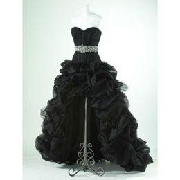 $enCountryForm.capitalKeyWord UK - New Black Organza Bridal gowns Wedding Party Formal High Low Hi-LO Dresses Custom Plus size Lace Up Back
