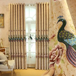 WindoWs european online shopping - European top chenille thick peacock embroidered blackout Window Curtain for bedroom Elegant Curtains for living room kitchen