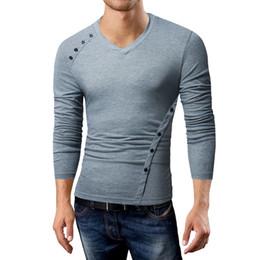 Mens Long Sleeve T Shirt Xxl Australia - Male 2019 Brand Long Sleeve Oblique Button Design T Shirt V-neck Slim Men T-shirt Tops Fashion Mens Tee Shirt T Shirts Xxl