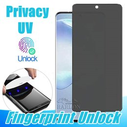 privacy screen protector note Australia - Privacy UV Screen Protector Fingerprint Unlock Full Adhesive Glue Curved Tempered Glass For Samsung Galaxy S20 Ultra S10 S9 Plus Note 10 Pro