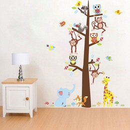 owl decorations for nursery NZ - Tree Branch Animal Owl Bird Cartoon Monkey Wall Stickers For Kids Room Decal Forest Home Decoration