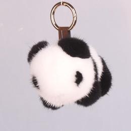 Chinese  Panda Keychain Mink Panda jewelry plush ornaments fur bag pendant keychains key chain key chains cute keychain fur manufacturers
