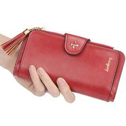 Korean bag bucKle online shopping - Zipper buckle PU leather wallet woman long tassel Korean fashion business card holder student large capacity clutch bag card package