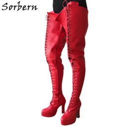 Fetish cosplay online shopping - BDSM cm Square Heel Boots Women Platform Lace Up Crotch Thigh High Boots Goth Cosplay Fetish Boot Red Matte