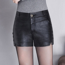 Wholesale skinny chinese shorts resale online – High quality Soft Pu Leather Shorts New High Waist Was Thin Casual Shorts Large Size XL Elegant Fashion Women