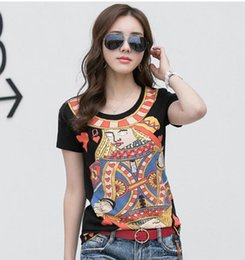 Discount ladies t shirt embroidery New High Quality Cotton Women's Sequins Tops Tees Office Lady Fashion Cartoon T-shirt Tank Women's 3d Pattern