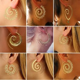 $enCountryForm.capitalKeyWord Australia - Bohemia Ethnic Personality Round Spiral Drop Earrings Exaggerated Love Heart Whirlpool Gear Earrings for Women Beach Jewelry