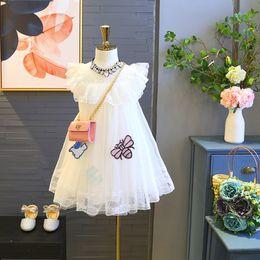 $enCountryForm.capitalKeyWord Australia - Girls Princess Dresses Kids Wedding Ball Gown Summer Lace Fly Sleeve Mesh Carton Appliqued Tutu One-piece 100cm-140cm
