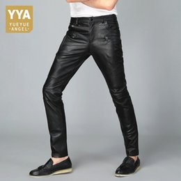 leather trousers bootcut Australia - Casual Mens Full Length 2019 New Genuine Leather Straight Slim Pencil Pants Streetwear High Quality Comfort Trouser