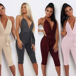 Wholesale Womens Jumpsuits Summer New Shiny Halter Jumpsuit Sexy V neck Cropped Pants Nightclub Style Open Back Clothing Hot Sale
