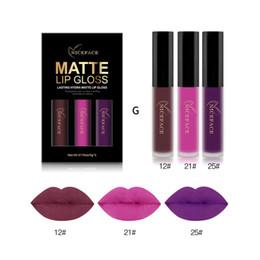 $enCountryForm.capitalKeyWord Australia - HOT FREE DHL Niceface Makeup Set Velvet Matte Lip Gloss 3 Colors Liquid Lipstick Waterproof Long Lasting Sexy Red Purple Nude Lip Tint