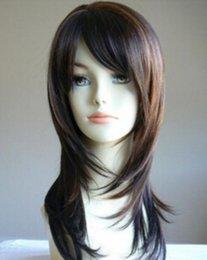 Parrucche da salone in evidenza marrone scuro a strati lunghi di sabbia di trasporto libero della parrucca in Offerta