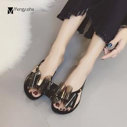 40efe13da99f Pink Jelly Bow Sandals Australia - 3D plastic bow slippers women gladiator  sandals flat bow-