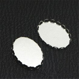 $enCountryForm.capitalKeyWord Australia - 100 PCS 18*13mm 18*25mm Oval Cabochon Base Connectors Settings Stainless Steel Lace Bezel Setting For Jewelry Making