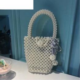 Beaded Designs Australia - good quality Pearl Bucket Bag Design Women Bag Mini Pearl Phone Bags Pearl Handbag Retro Handmade Beaded Woven Fairy Bag Bolsa Feminina