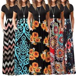 $enCountryForm.capitalKeyWord Australia - Cross-border Amazon Exploded European and American Women's Dresses Spring 2019 New Round-collar Short-sleeved Broken Flower Dresses