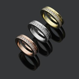 Screw Rings NZ - High Quality Fashion Lady 316 Titanium Steel Full Square Diamond Screw Wedding Engagement 18K Gold Plated Two Combination Rings Size6-9