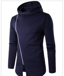Wholesale design hoodies for free online – oversize Hoodie Men Incline Zipper Hooded Design Long Sleeve Solid Color Brief Style Slim Fit For Man Sweatshirts Hoodie Casual