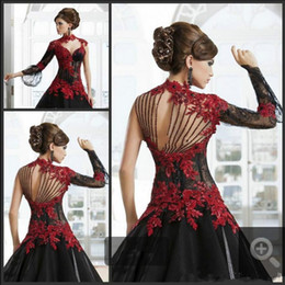 $enCountryForm.capitalKeyWord NZ - Vintage Black and Red Victorian Gothic wedding dresses Masquerade Halloween 2019 Keyhole High Neck Long Sleeve bridal gowns