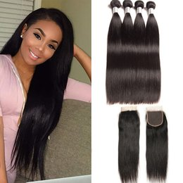 Discount silky hair extensions - Brazilian Virgin Hair 4 Bundles With 4X4 Lace Closure Baby Hair Straight Natural Color Human Hair Extensions 8-28inch Si