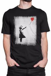 "Balloon Cotton Australia - T-shirt Uomo ""Balloon Girl - Banksy"" - maglietta 100% cotone - Nero Funny 100% Cotton T Shirt Trump Sweat Sporter T-shirt"