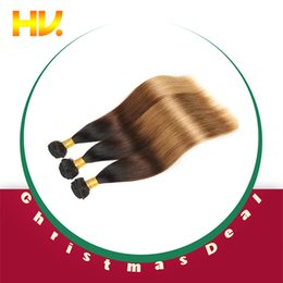 Hair Straightening Products Wholesale NZ - 8a ombre Hair Products peruvian Straight 4PCS Lot 100% Human Hair Weave Bundles Remy peruvian Hair cheveux bresiliens