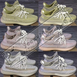 Peach Cream Australia - 3m Static Black Reflective Kanye West Antlia Synth Lundmark Gid Glow True Form Clay Zebra Cream White Running Shoes Designer Sneakers 5-13
