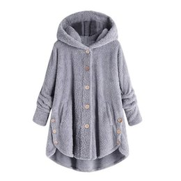 Pan Side UK - Casual Women Autumn Winter Parka Outerwear Loose Double-Sided Plush Hoodie Coat Female Plus Size Artificial Fur Coats Jacket New T190610