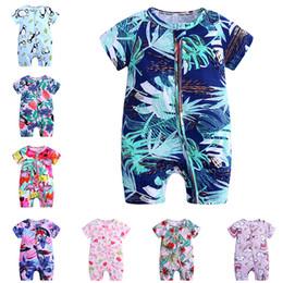 9106b742b New Ins Ropa recién nacida Mameluco Bebé niño niña ropa Mono Manga corta  Cremallera Florales Hojas tropicales Flamingo Impreso por completo Verano  caliente