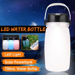 lamps direct NZ - 700ml Silicone Outdoor Water Bottle Solar Charging Camping Lamp LED Light Lantern Kettle Outdoor Sports Travel Mountaineering
