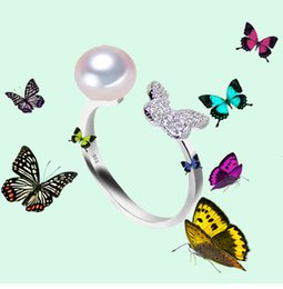 925 China Pearls Australia - new Fashion 100% Natural freshwater Pearl Ring 925 Sterling Silver Jewelry zircon For Women for girls best gift