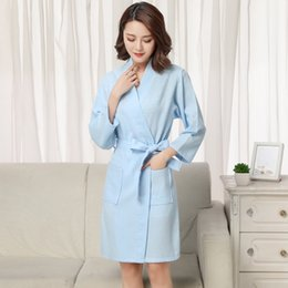 964e7f50aa Women Kimono Robe Men Bathrobe Summer Sold Sexy Spa Robe Waffle Cotton Bath  Robes Bride Pink Plus Size for couples 2019 New