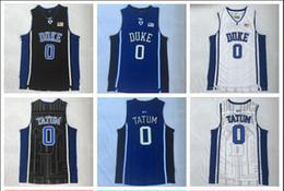 $enCountryForm.capitalKeyWord Australia - NCAA Duke 0 Tatum White, Black And Blue Embroidered Basketball Jerseys