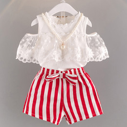 $enCountryForm.capitalKeyWord Australia - 2019 Summer New Korean Lace Shoulder top with striped shorts Two children's suits One hair replacement Q0701