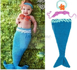 $enCountryForm.capitalKeyWord Australia - Baby Shower Crochet Mermaid Swaddles Knit Costume Wraps Newborn Blankets Baby Photography Props Diamond Headband 3PCS set Outfit