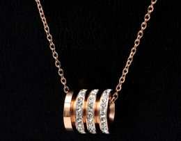 Mud Chains Australia - Korean temperament cylindrical three-ring white mud drill pendant necklace female hipsters wild titanium steel short clavicle chain