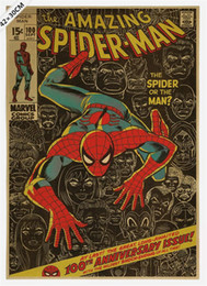 $enCountryForm.capitalKeyWord NZ - Vintage Classic Comics Famous Superhero Spiderman Poster Bar Cafe Kid's Room Home Decor Retro Kraft Paper Wall Sticker 51x35cm