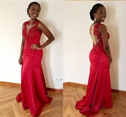 $enCountryForm.capitalKeyWord Australia - Red Mermaid Long Bridesmaid Dress Jewel See Through Lace Appliques Beads Sweep Train Garden Country Beach Long Evening Prom Formal Gown