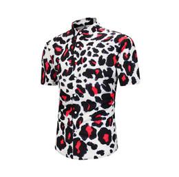 $enCountryForm.capitalKeyWord UK - Wholesale Designer Mens Clothes Casual Shirts Men Short Sleeve Shirts Digital Leopard Print Holiday Camp Turn-down Collar Tops Beach Shirts