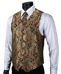 Wedding Waistcoat for men designs online shopping - VE14 Gold Brown Paisley Top Design Wedding Men Silk Waistcoat Vest Pocket Square Cufflinks Cravat Set for Suit Tuxedo