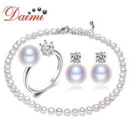 $enCountryForm.capitalKeyWord Australia - PRESALE DAIMI Trendy Pearl Jewelry Sets Cultured Pearl Necklace Ring and Earrings Sets Jewelry for Woman
