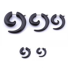 Wholesale New Fashion Fashion Unisex Black Spiral Snail Acrylic Stud Earring Piercing Jewelry Fashion Earrings