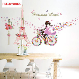 fairy stickers for girls bedroom Australia - DIY Mural Flower Fairy Girl Cycling Lron Tower Stickers Waterproof Bedroom Background Wall Art Home Decor Wall Sticker