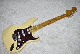 milk cans NZ - Factory Custom Milk Yellow Electric Guitar with Reverse Headstock,22 Frets,Chrome Hardware,SSS Pickup,Red Pickguard,Can be Customized
