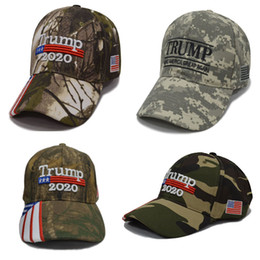 camo sports hats 2019 - Camouflage Donald Trump Hats USA Flag Baseball Cap Make Keep America Great 2020 Hats Embroidery Star Letter Camo Snapbac