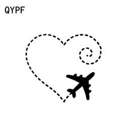 $enCountryForm.capitalKeyWord Australia - QYPF 15.5CM*13.9CM Airplane Drawing A Heart Swirl Love Sweet Vinyl Motorcycle Car Sticker Decal Graphical C15-0693