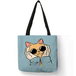 27a30cc12 Blue Pink Color Tote Bag Pug Husky Chubby Face Print Shoulder Bag Practical  Linen Durable Shopping Travel Easy Carry Package