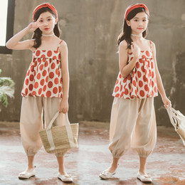 $enCountryForm.capitalKeyWord Australia - Girl Wear Outfits New Summer Children Suit Sexy Off Shoulder Fashion Polka Dot Camisole Lantern Pants 2pcs Clothes Sets
