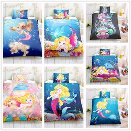 $enCountryForm.capitalKeyWord Australia - Mermaid fairy tale series Bedding Set 2 3pcs Single Double King Size Duvet Cover Set cartoon for kids adult Bedding Supplies