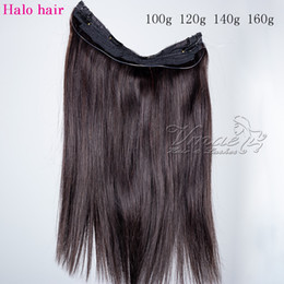 Discount flip human hair extensions - VMAE Brazilian Natural Black 100g 120g 140g 160g 12 To 26 Inch No Glue Straight Halo Flip In Virgin Human Hair Extension